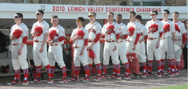 Photo courtesy of Sue Beyer | The Express-Times. Easton celebrated 50 years at Charles Richards Field with a ceremony and by donning throwback jerseys.