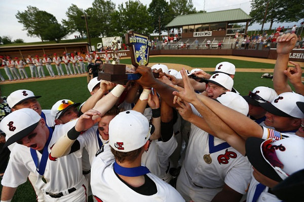 Photo courtesy of Saed Hindash | For lehighvalleylive.com. Easton Area High School baseball players celebrate after wining the District 11 AAAA baseball final on, June 1, 2016, at Lehigh University's Legacy Park.