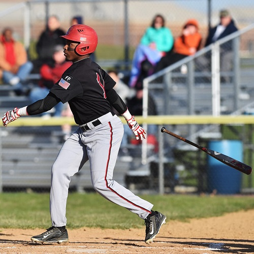 Photo courtesy of April Bartholomew | The Morning Call. Trey Durrah gets a hit.