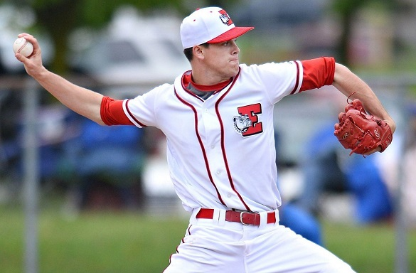Photo courtesy of Rick Kintzel | The Morning Call. Easton right-hander Eddie Olsen struck out 16 batters in the Red Rovers' 10-2 win over Pleasant Valley in an EPC baseball quarterfinal Saturday