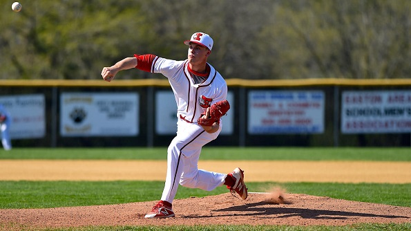 Photo courtesy of April Gamez | The Morning Call. Easton's Eddie Olsen (5) pitches against Emmaus.